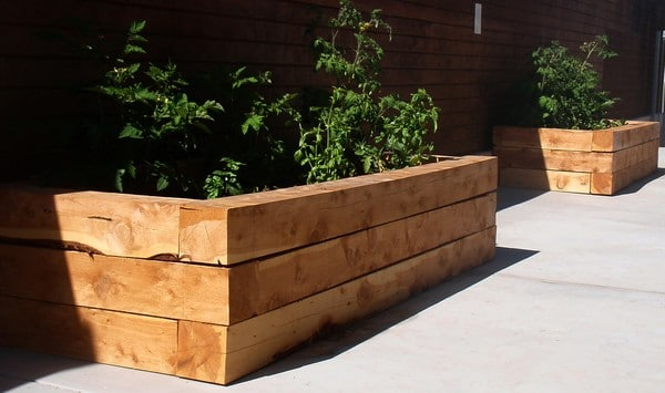 landscape timbers-made raised beds