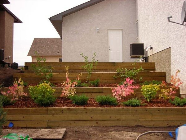 retaining walls built with timber, landscape timbers