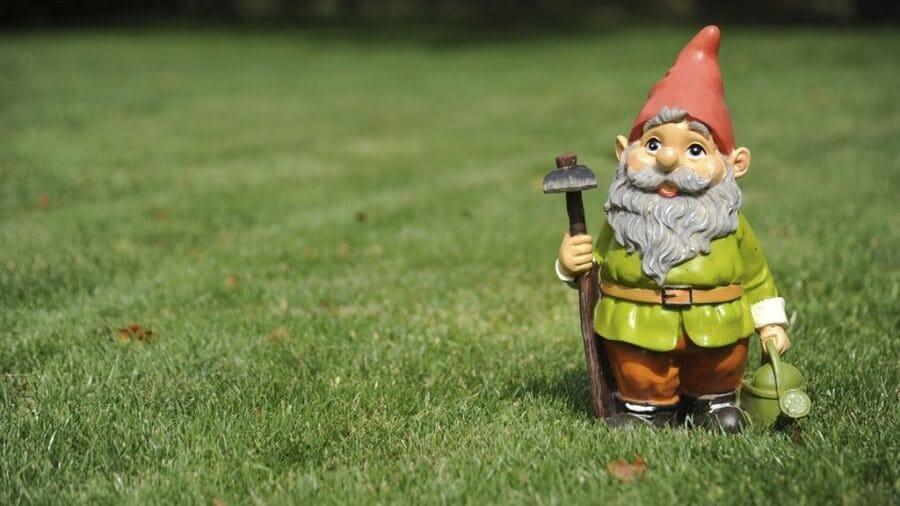 garden gnome on a lawn