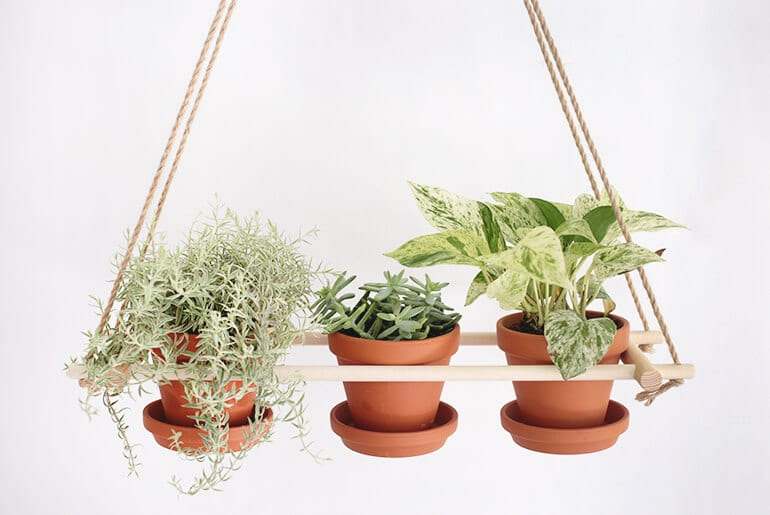 hanging planters on wood frame