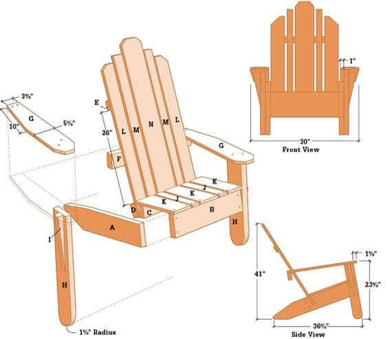 dimensions of an adirondack chair, diy adirondack chair