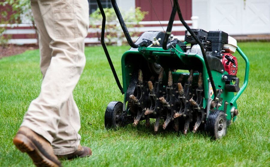 using a machine to aerate the lawn, spring cleanup