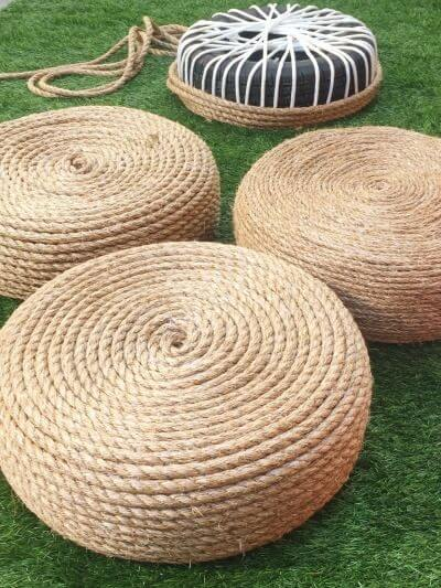 ottomans made of tires and rope, repurposed materials