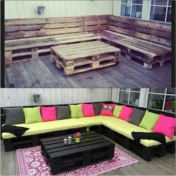 before and after garden furniture made of wooden pallets, repurposed materials
