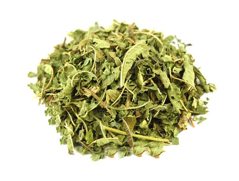 bunch of dried lemon verbena leaves, lemon verbena