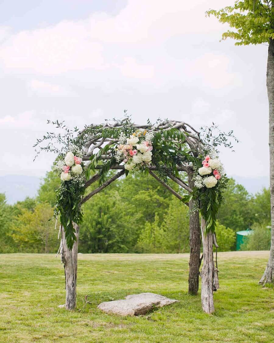 wedding arch adorned with flowers