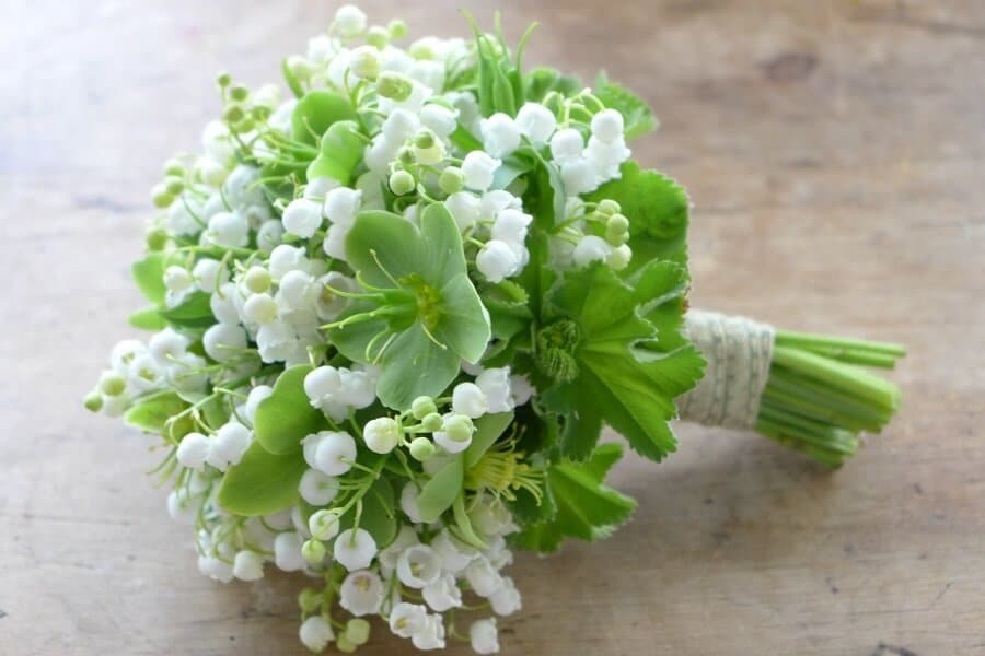 wedding bouquet made of lily of the valley flowers
