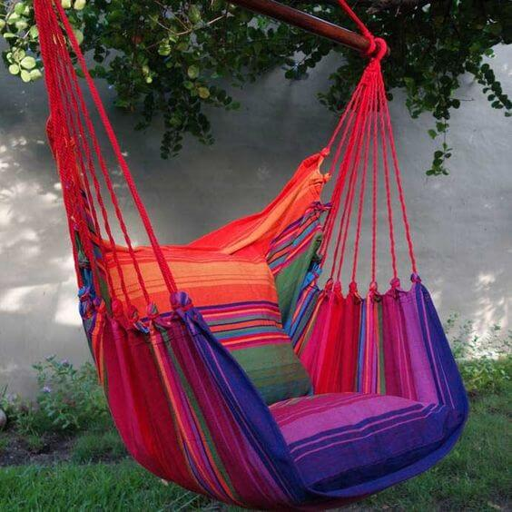 hammock with chair cushions, repurposed materials