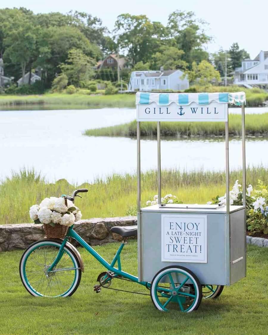 blue ice cream cart