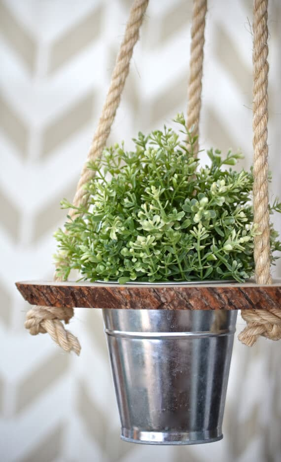 hanging planter made of wood and metal