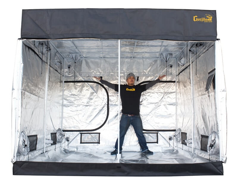 man inside a grow tent