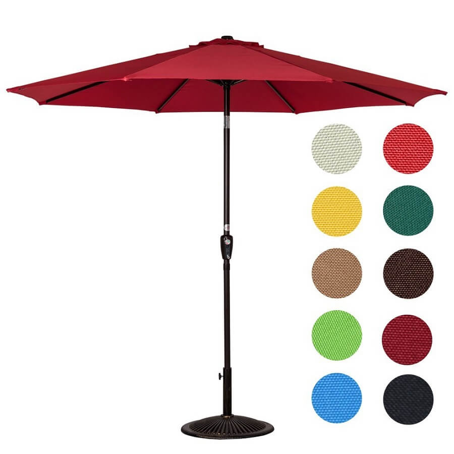 patio umbrella in burgundy