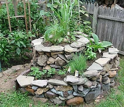 spiral herb garden made out of a dry stack stone wall