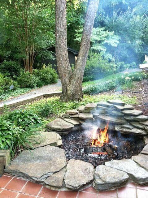 firepit made of dry stacked stone
