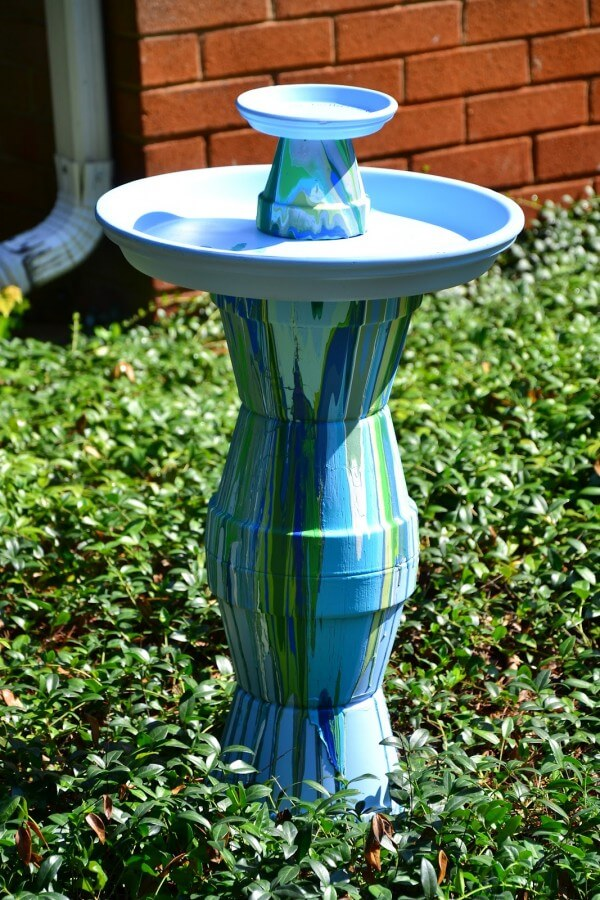 bird bath made of terracotta pots