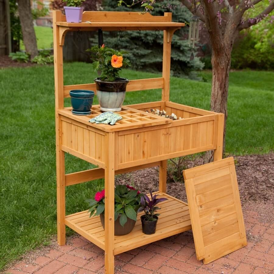 potting bench made of wood