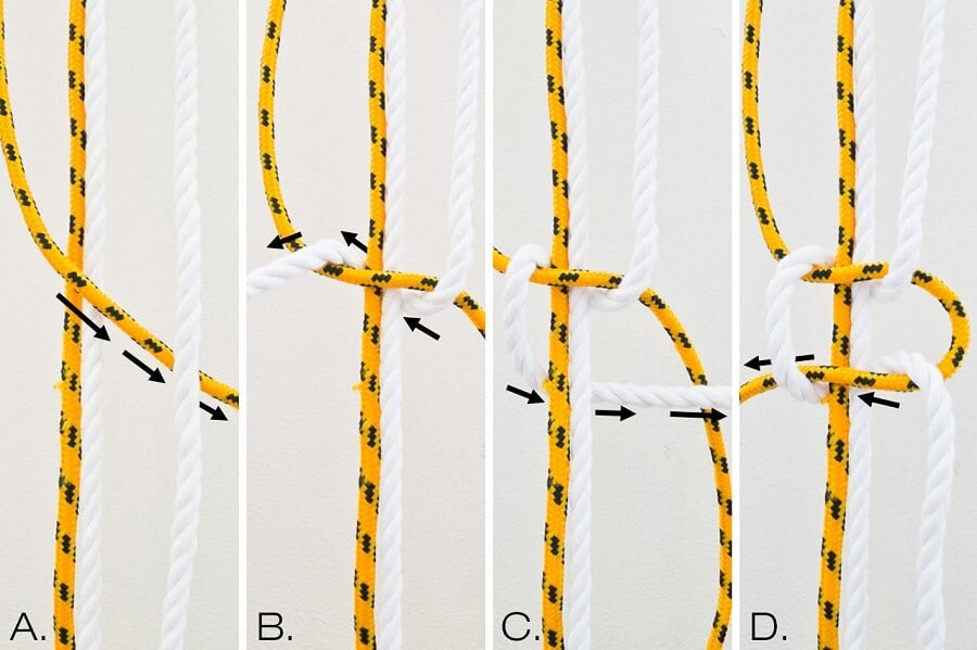 collage showing how to make an alternating square knot