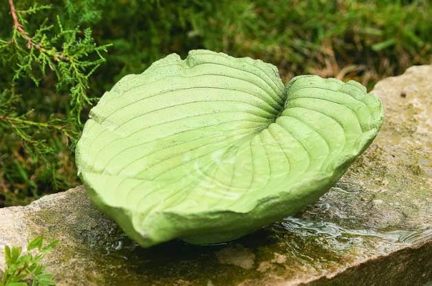 leaf-shaped bird bath
