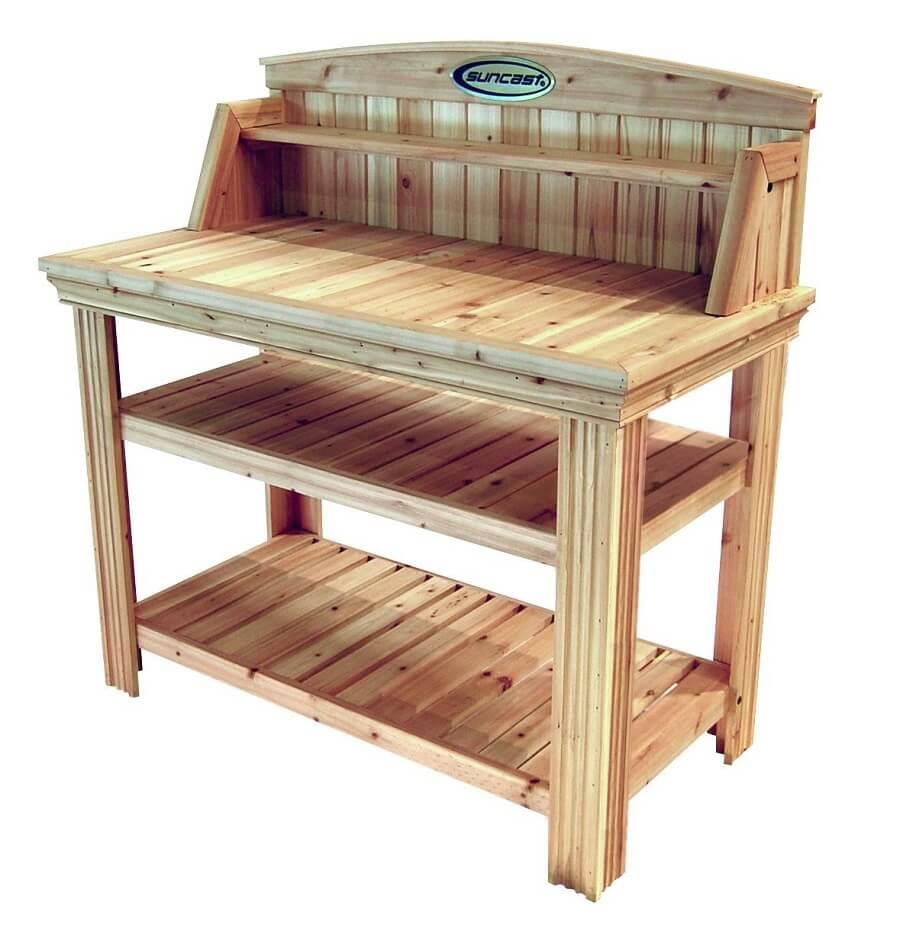potting bench made of cedar