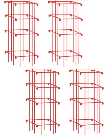 four tomato cages in pink