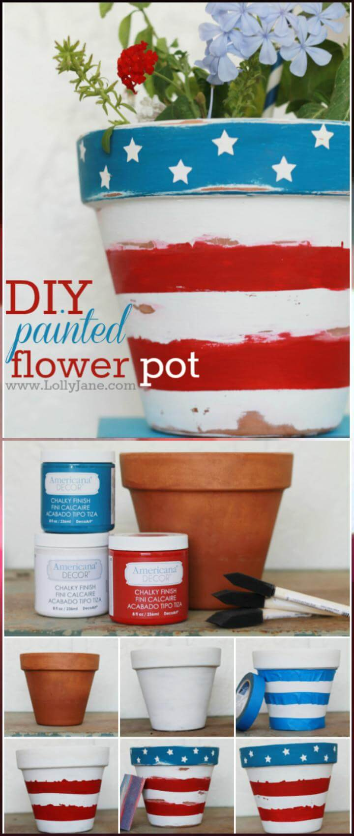 DIY American Flower Pot Illustration