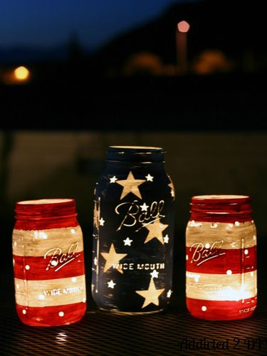 Mason Jar Lantern Decorations for the 4th of July
