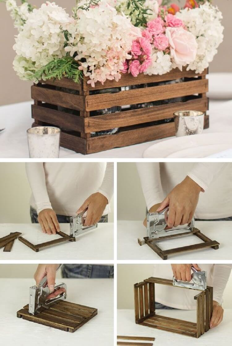 Barn wedding idea flowers crate