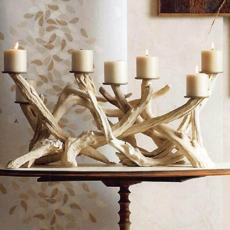 Barn wedding driftwood candelabra