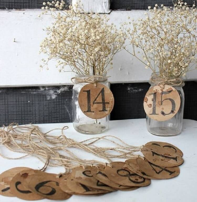 Barn wedding decorations with table numbers