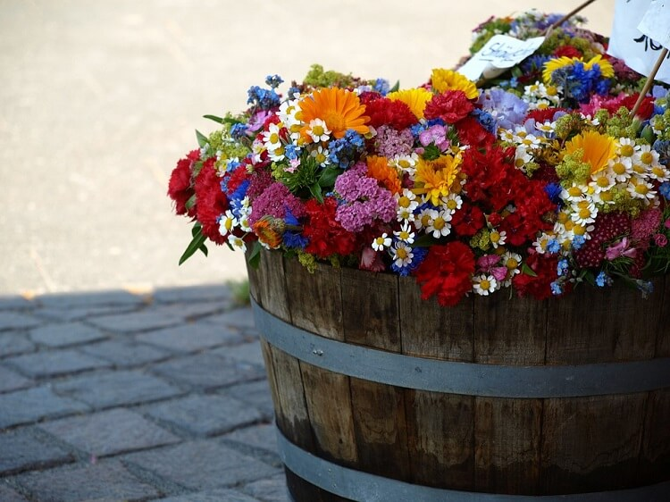 Wine barrel flowers bouquet