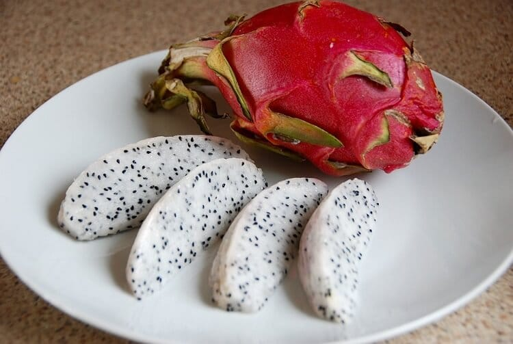 Slices of white dragon fruit