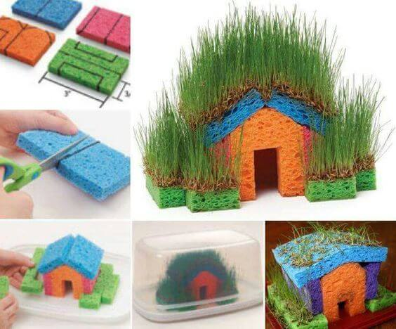 Grass Sponge Houses for Garden
