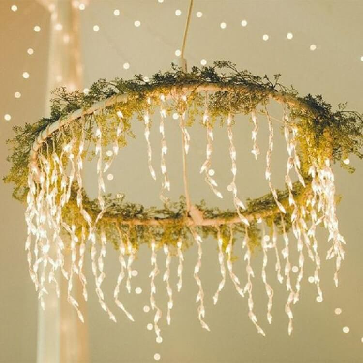 Hula Hoop chandelier for wedding decoration