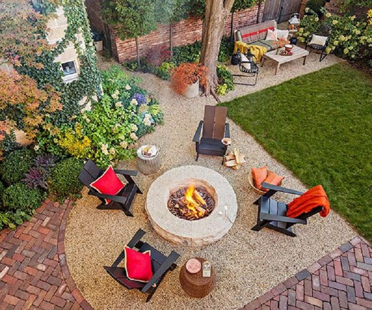 Aerial view of a backyard design
