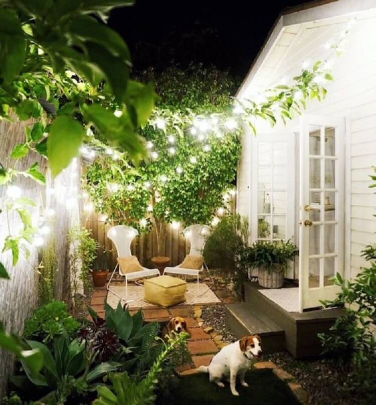 Evening lights in backyard