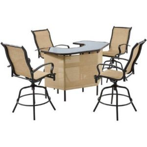Outdoor bar set with 4 stools from Mainstays Wesley Creek