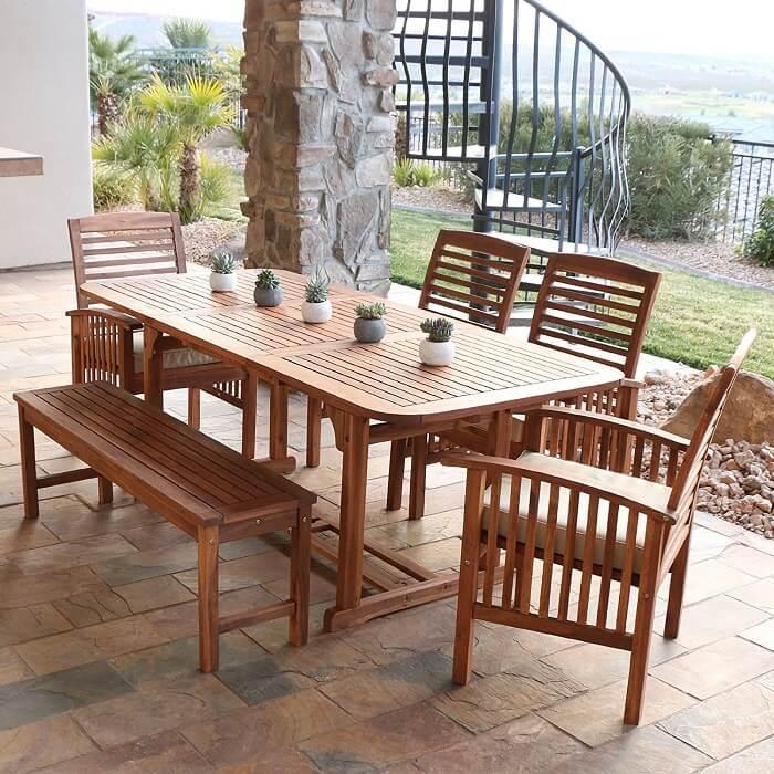 WE Furniture acacia outdoor dining set