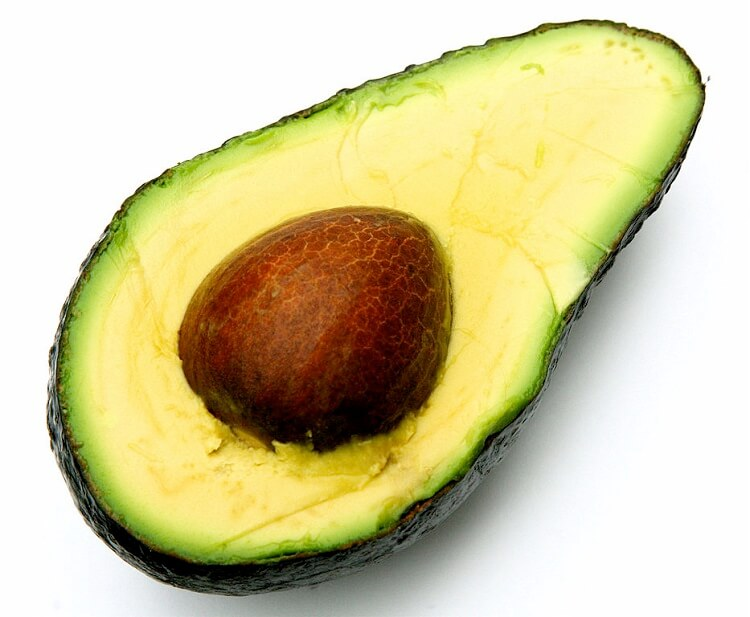Half an avocado seen from above