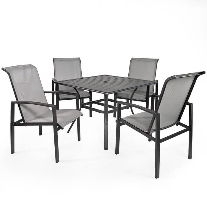 Barton Mesh dining set with four chairs and a table