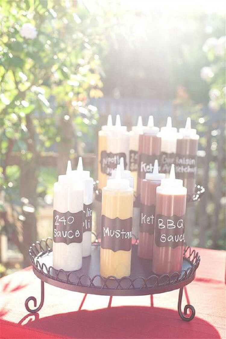 Various tubes of different barbecue sauces