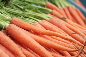 Close up of a carrot mound