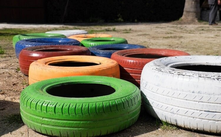 Tires painted in live colors