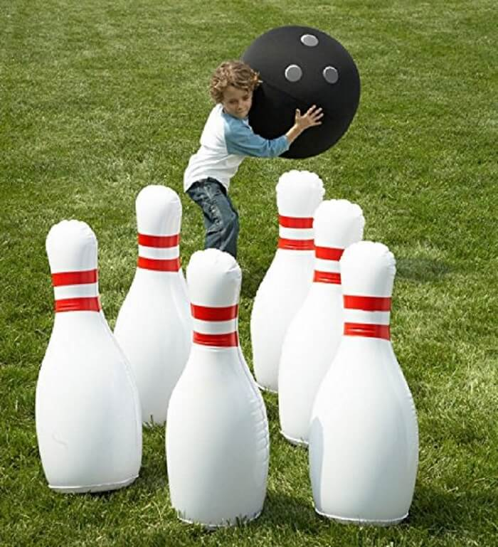 Giant red and white bowling set