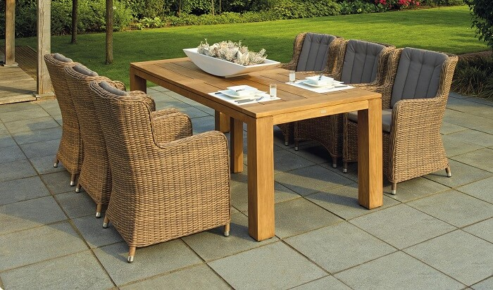 Outdoor dining set placed in patio