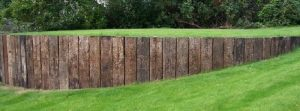 Railroad ties garden wall, railroad ties landscaping