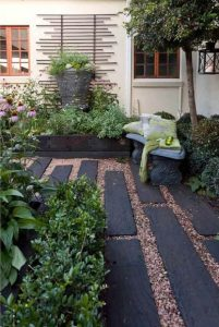 Railroad ties design surrounded by gravel
