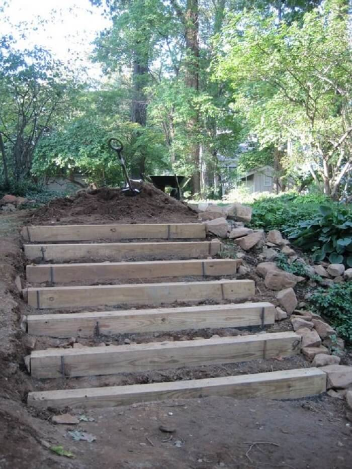 Stairs made of railroad ties