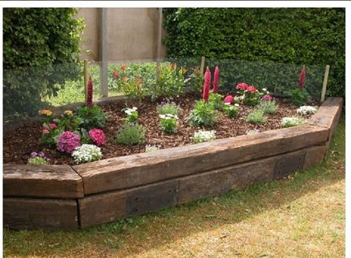 Merveilleux Raised Bed From Railroad Ties