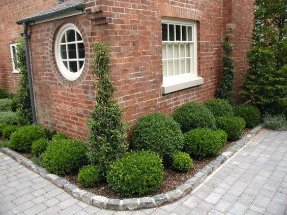 house corner with boxwood landscaping