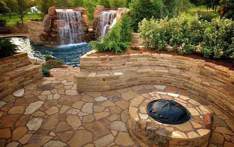Fire pit and space with brown and beige stone design